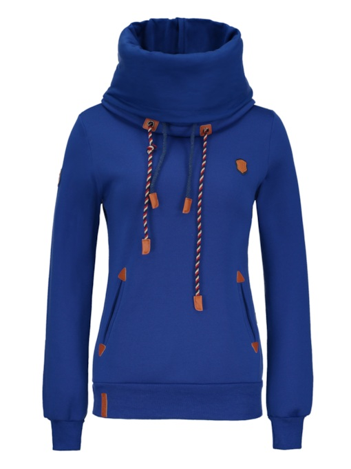 Heap Collar Long Sleeve Women's Hoodie With Patches