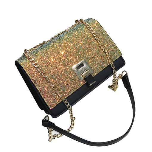 Korean Style Sequins PU Cross Body Bag