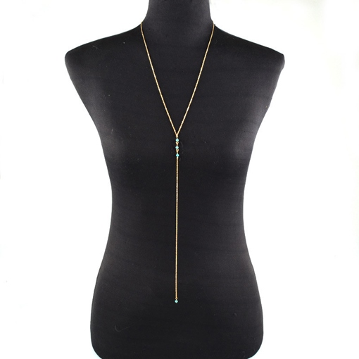 Imitation Turquoise Overgild Body Chain Necklace