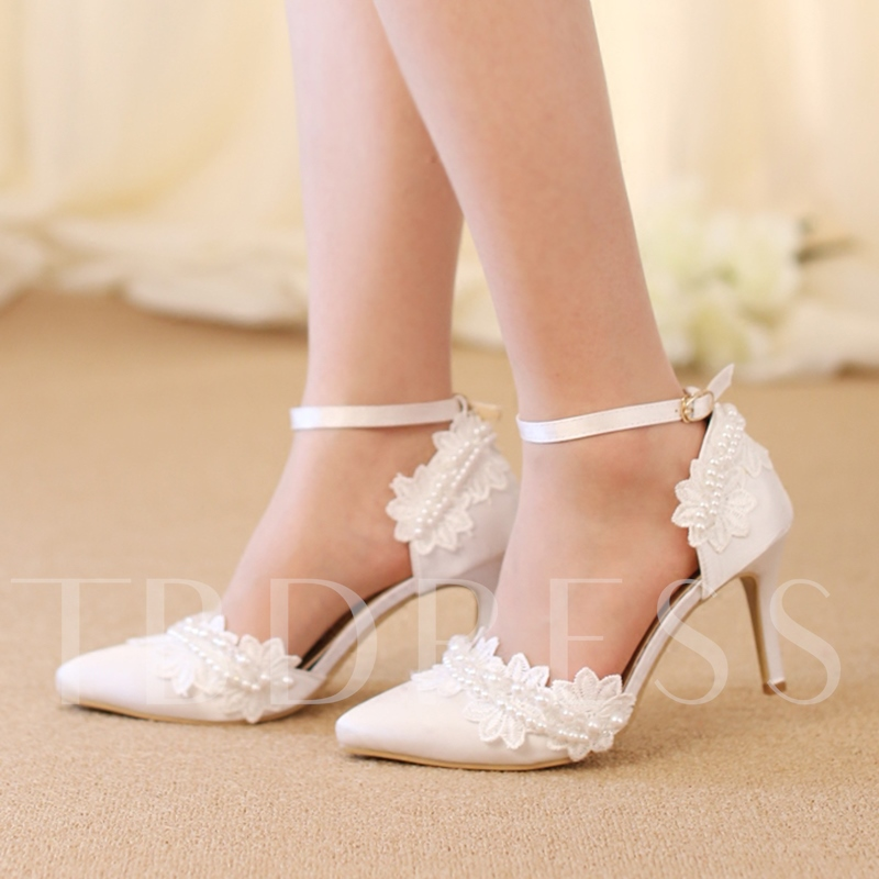Image of Ankle Strap Lace Flower High Heel Wedding Shoes