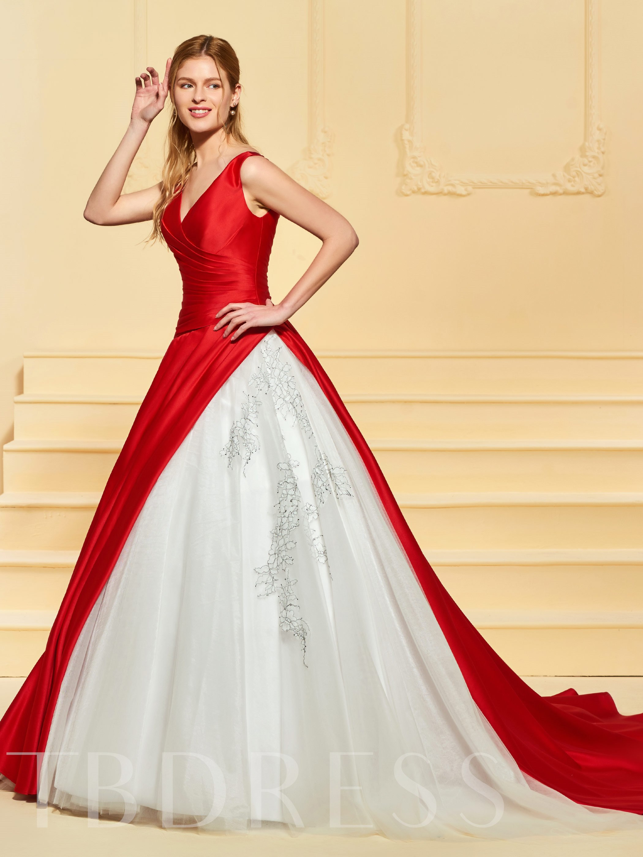 Image of Ball Gown V-Neck Color Wedding Dress