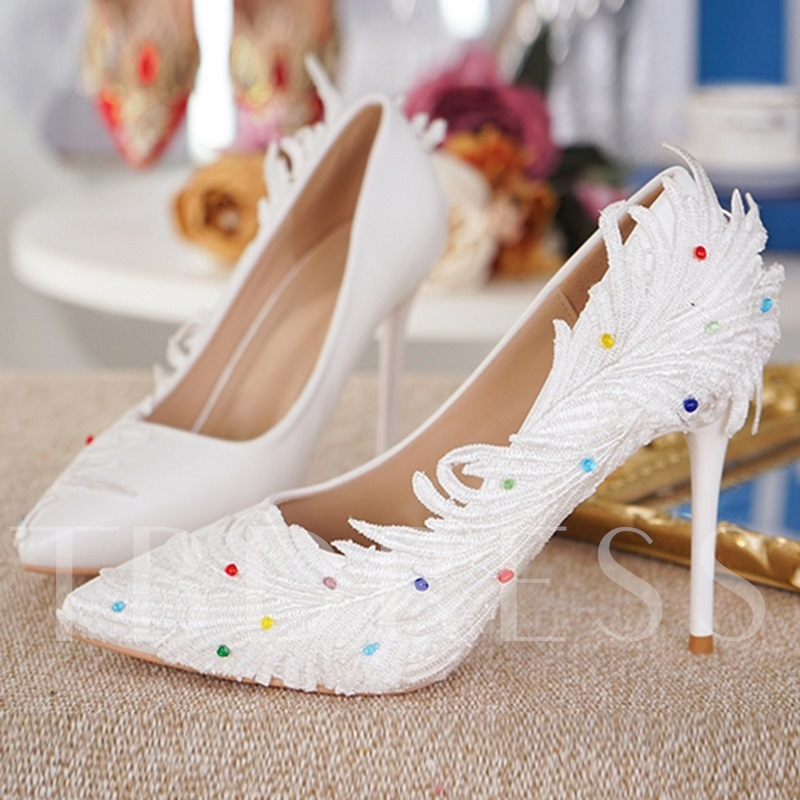 Image of Feather Decoration Colorful Beads Womens Wedding Shoes