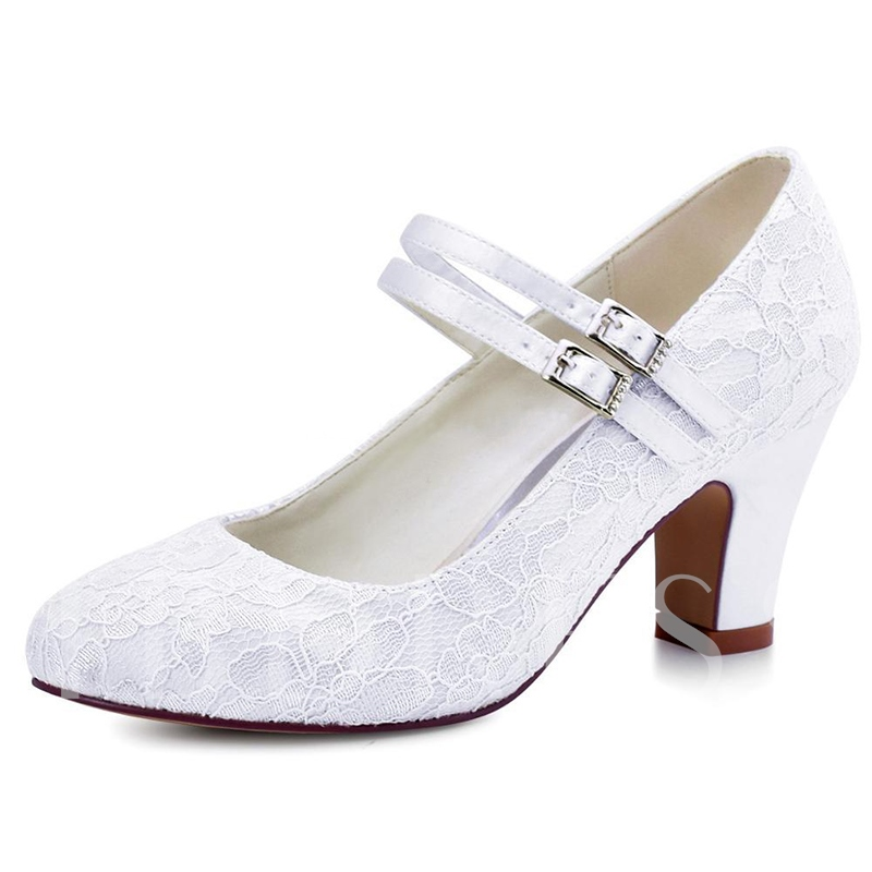 Buy White Lace Flower Buckle Chunky Heel Pumps Wedding Shoes, Spring,Summer,Fall, 13190090 for $66.99 in TBDress store