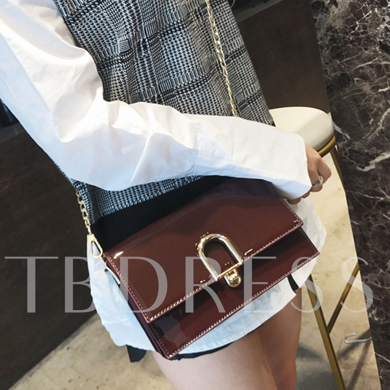 Fashion Glossy Plain Women Cross Body Bag