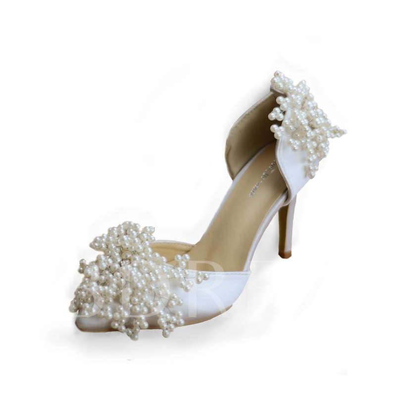 Fabric Delicacy Beads Heel Covering Wedding Shoes for Women