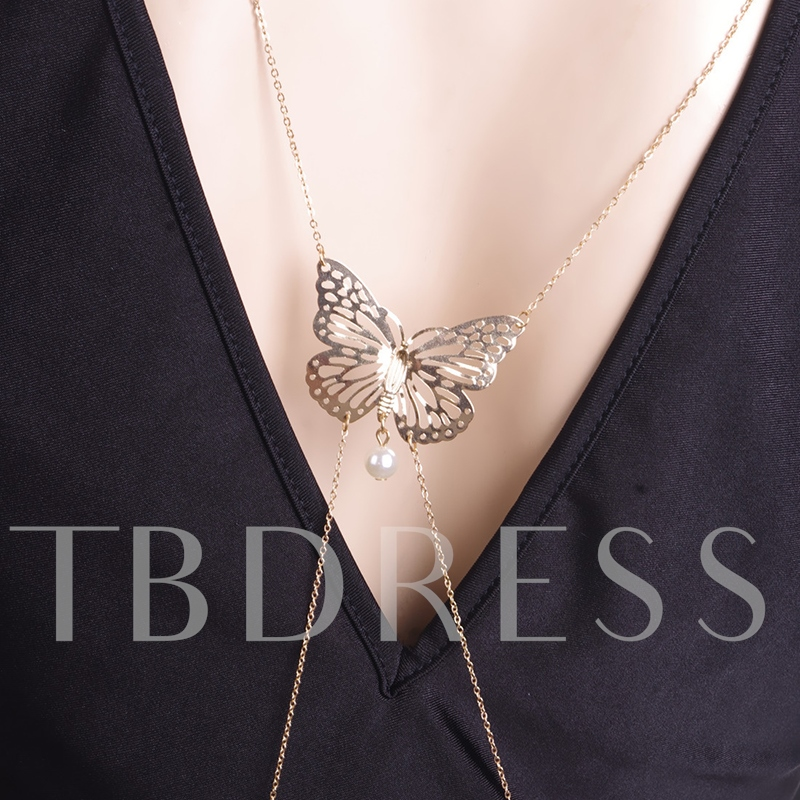 Butterfly Bronze Overgild Body Chain Necklace