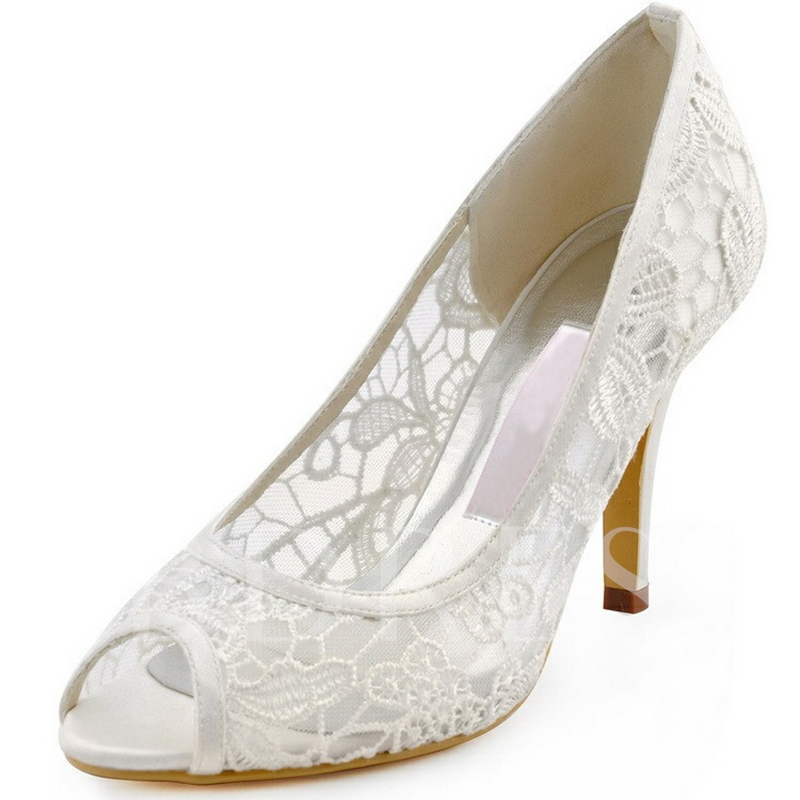 Buy Clear Lace Women's White Wedding Shoes for Bridal, Spring,Summer, 13190091 for $70.99 in TBDress store
