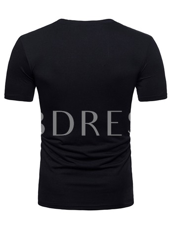Button Decorated Plain Thin Men's T-Shirt