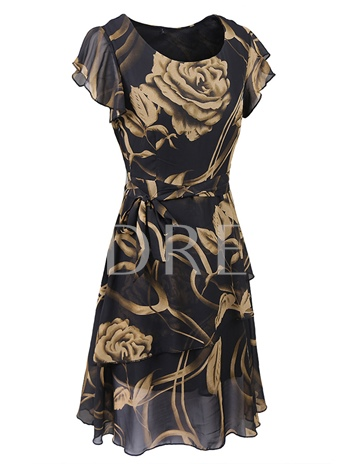 Rose Flower Printing Ruffle Women's Day Dress