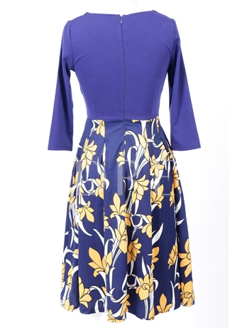Flower Printing Back Zip A-Line Women's Day Dress