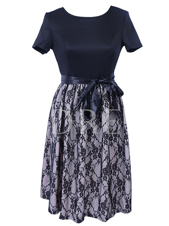 Lace Splicing A-Line Women's Day Dress