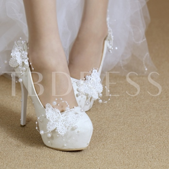 Lace Butterfly Beads Delicacy Wedding Shoes for Women