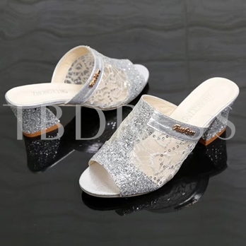 Peep Toe Chunky Heel Women's Slippers