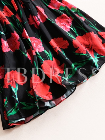 Above Knee Floral Round Neck Spring Women's Day Dress