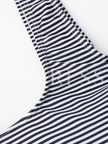 Black And White Striped Falbala Women's One-Piece Swimsuit