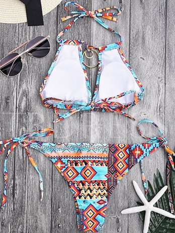 Tropical Print Bohemian Halter Side Tie Women's Bikini Set