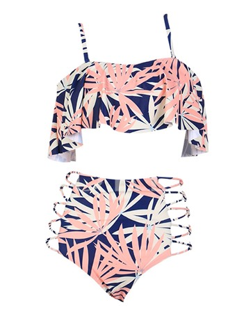 Off Shoulder Print High Waist Adjustable Strap Bikini Set