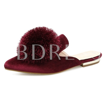 Pointed Toe Pompon Women's Mules Shoes