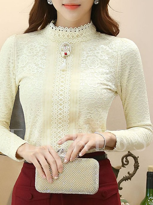 Stand Collar Women's Basic Blouse With Long Sleeve