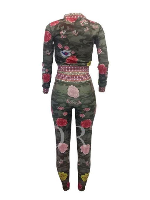 Floral Print Long Sleeve Stand Collar Women's Two Piece Set
