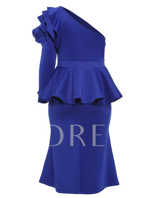 Royal Blue One Shoulder Plus Size Women's Maxi Dress