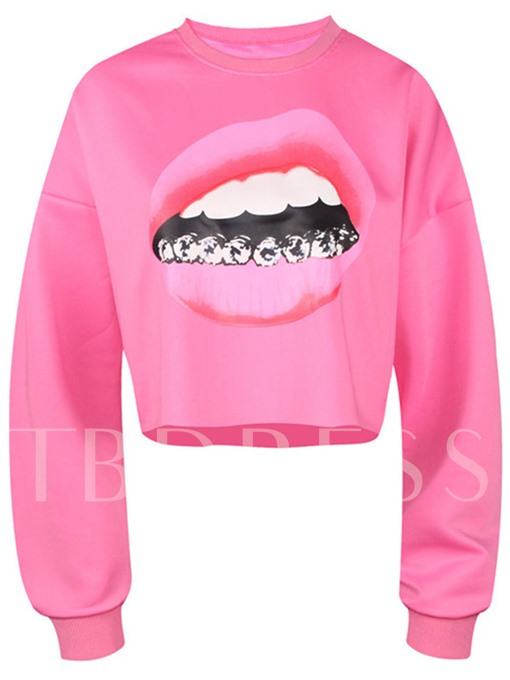 Women's Long Sleeve Sweatshirt With Sexy Lips Print