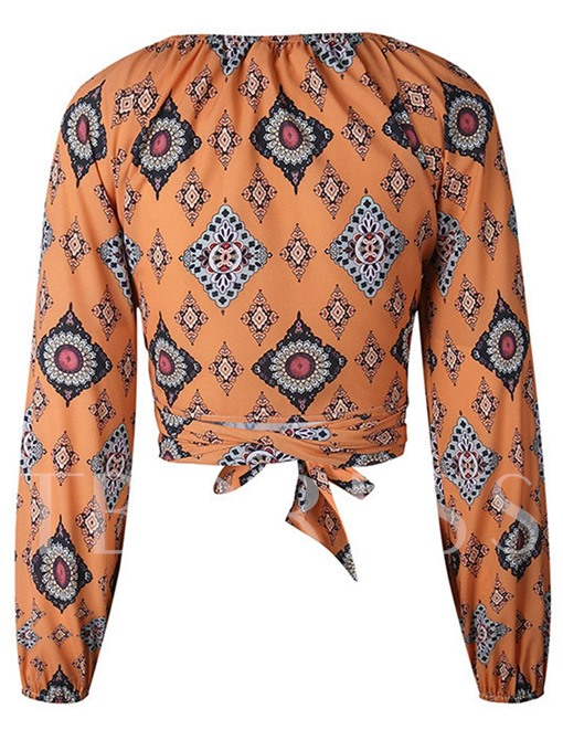 Dashiki Slim Fit Flare Sleeve Women's Blouse