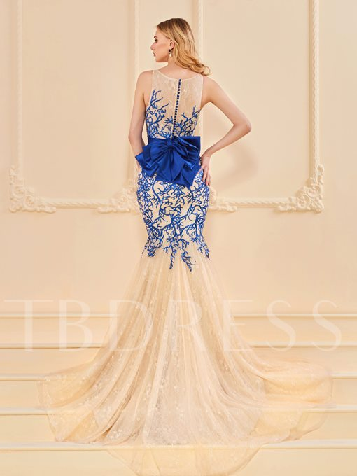 Mermaid Bowknot Button Lace Evening Dress