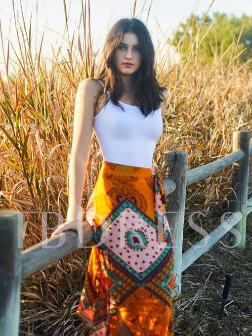 Asymmetric Print Bohemian Women's Skirt (Plus Size Available)