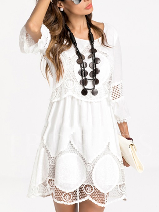 White Lace Bell Sleeve Women's Day Dress