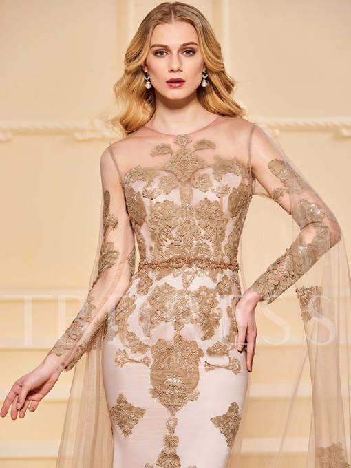 Mermaid Scoop Beading Button Lace Evening Dress