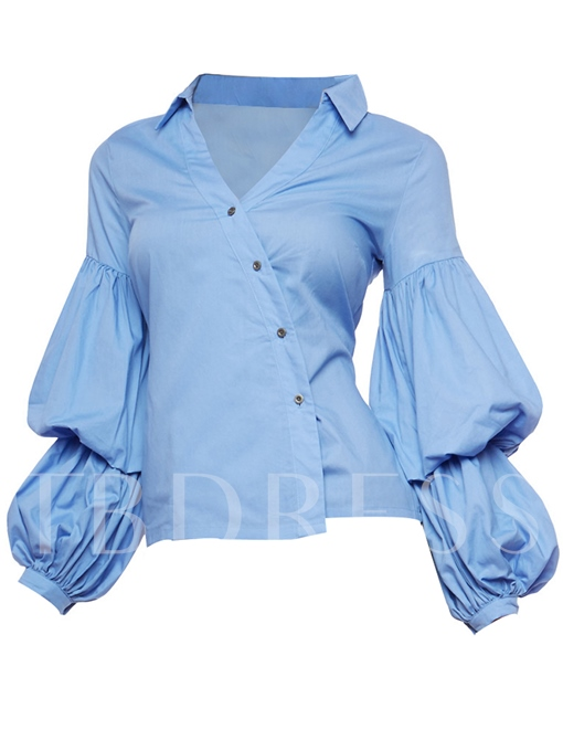 Oblique Single-Breasted Women's Blouse In Lantern Sleeve