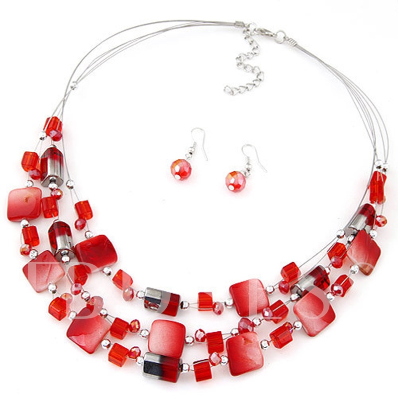 Synthetic Pearl Color Blocking Bohemian Jewelry Sets