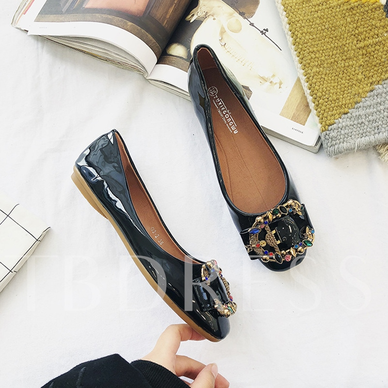 Colorful Rhinestone Block Heel Women's Flats