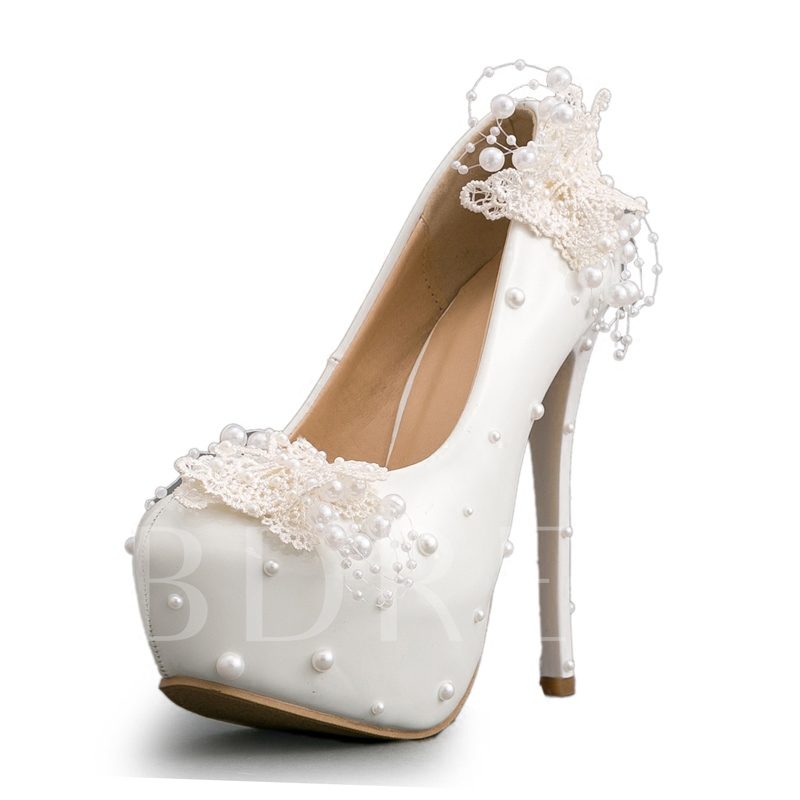 Buy Lace Butterfly Beads Delicacy Wedding Shoes for Women, Spring,Summer,Fall, 13190088 for $78.99 in TBDress store