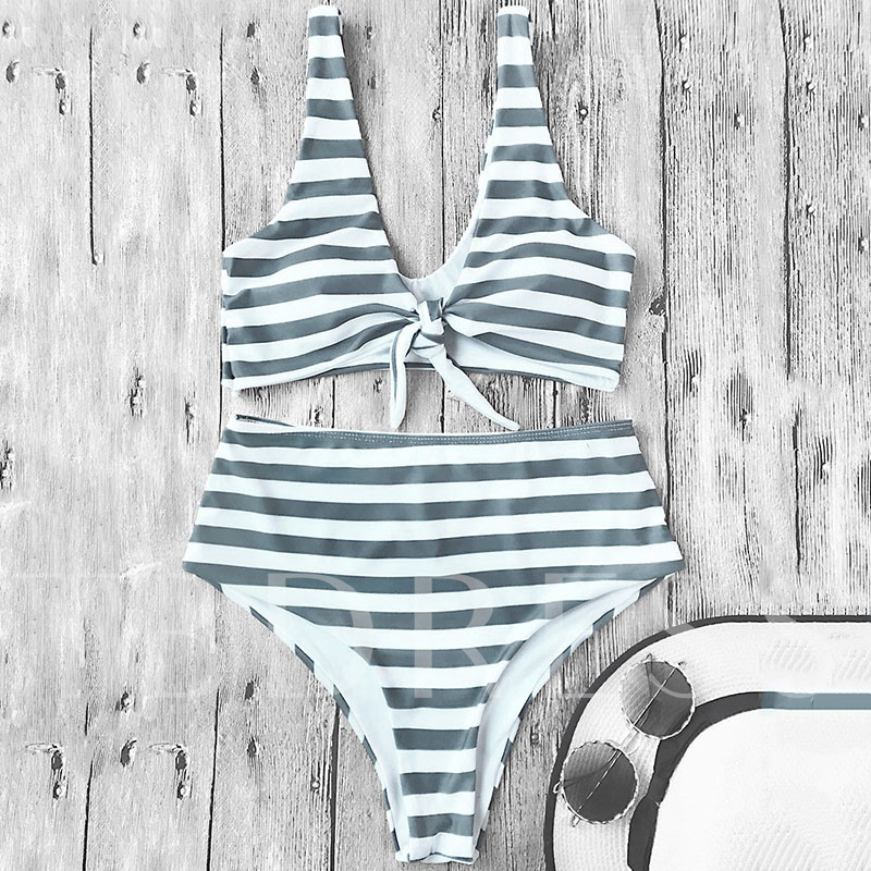 Striped Print Bowknot High Waist Women's Bikini Set