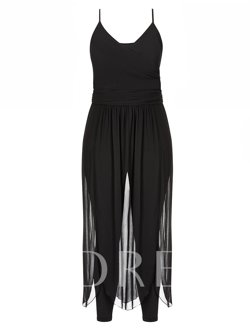 Plain High Waist Mesh Patchwork Suspenders Pant Women's Jumpsuit Overalls