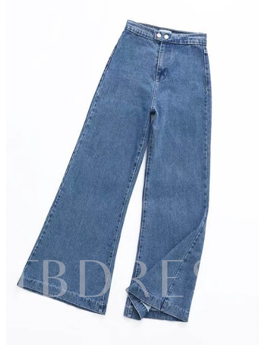 Retro Plain Bellbottom High Waist Denim Women's Jeans