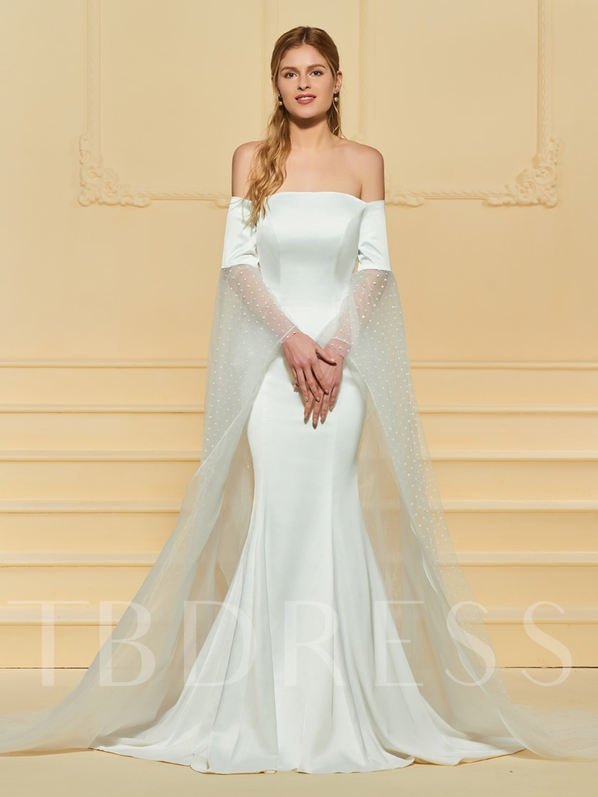 Off the Shoulder Mermaid Backless Wedding Dress with Sleeve ...
