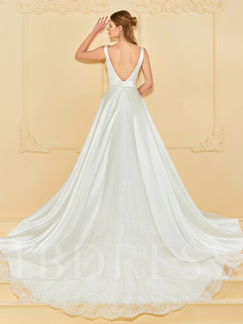 Straps Appliques Low Back Wedding Dress