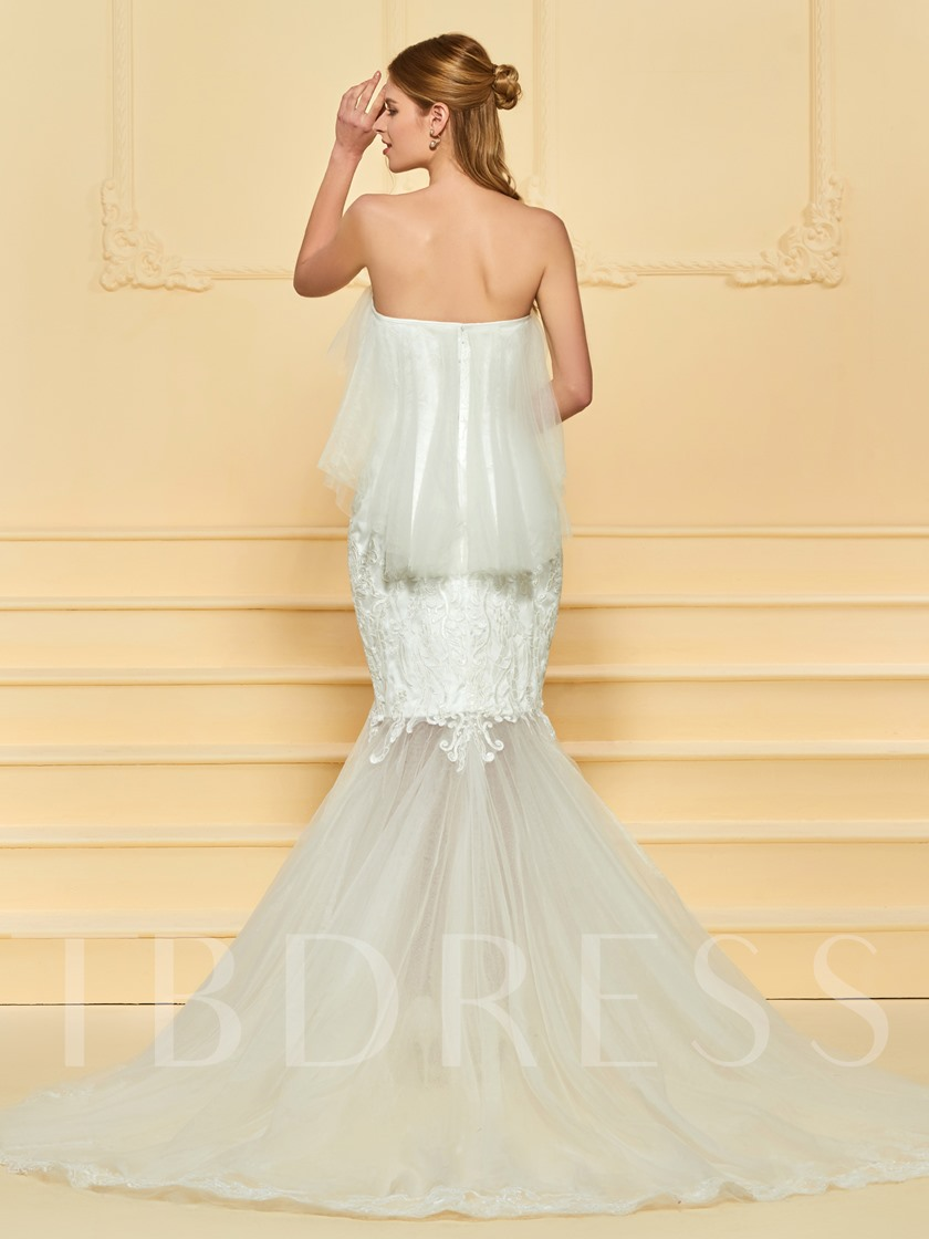 Sweetheart Ruffles Appliques Mermaid Wedding Dress