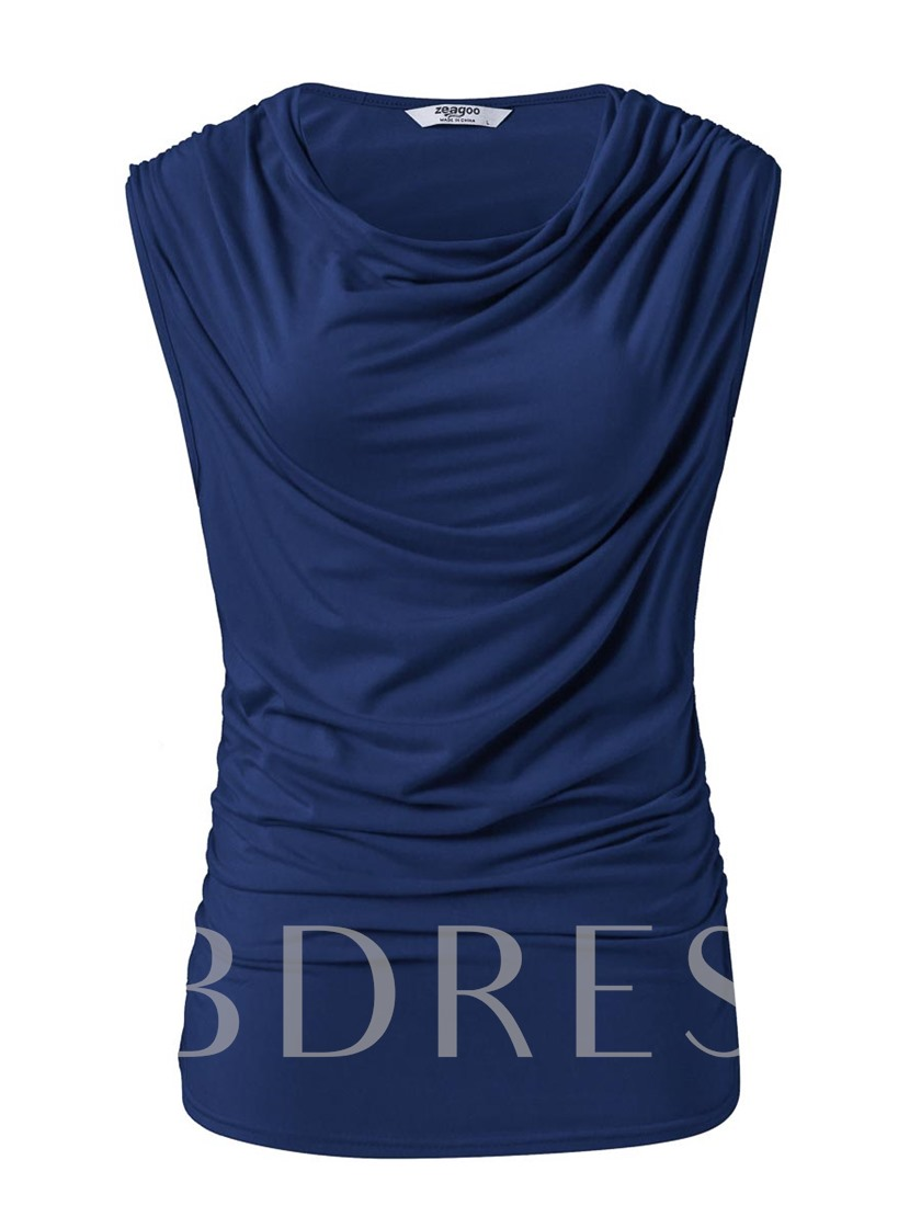 Round Neck Sleeveless Pure Color Women's Simple T-Shirt