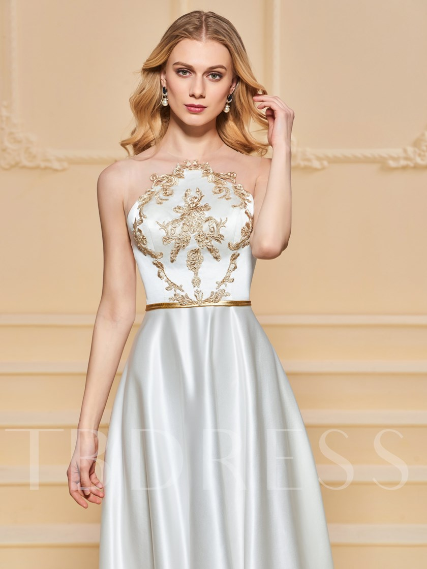 A-Line Appliques Button Evening Dress