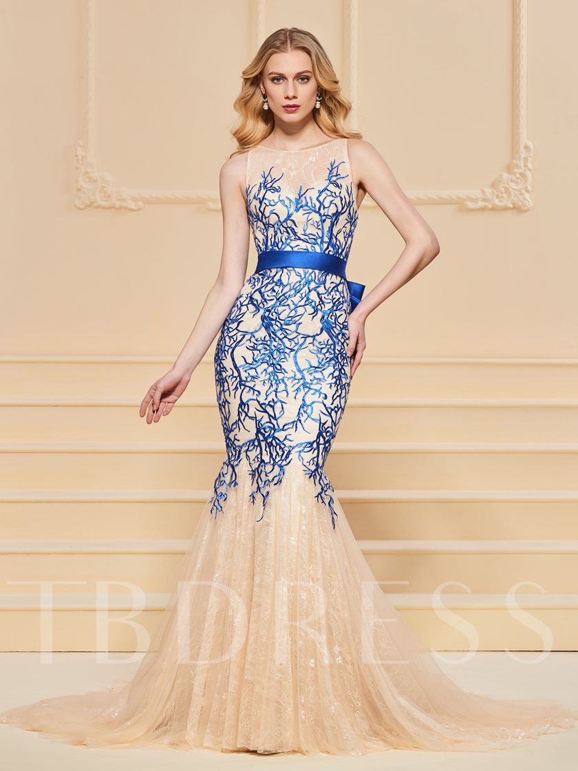 Bowknot Button Mermaid Lace Evening Dress 2019