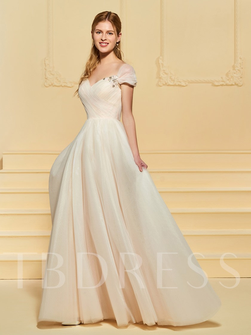 c498d35db7 Beading Pleats Cap Sleeve Wedding Dress - Tbdress.com
