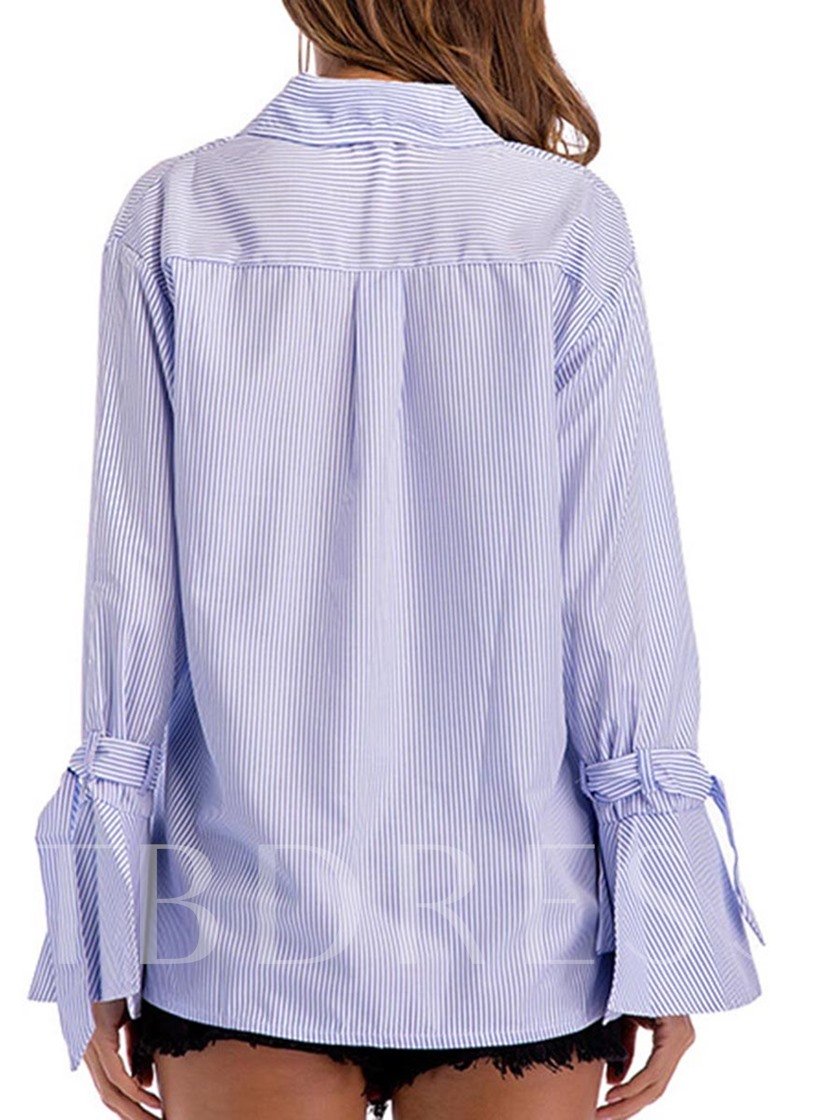 Lace-Up Bell Sleeve Lapel Women's Blouse