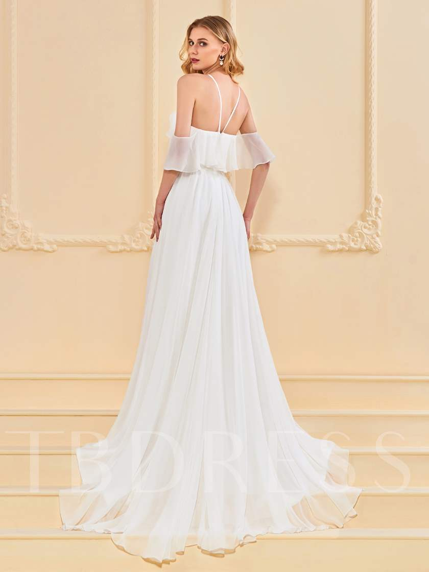 A-Line Open Shoulder Ruffles Evening Dress