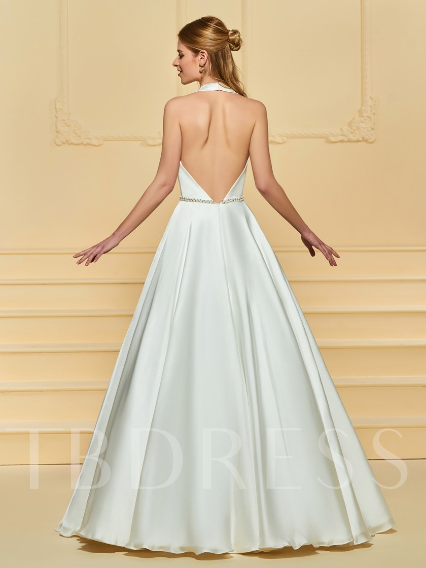 Halter Pearls Belt Backless Wedding Dress