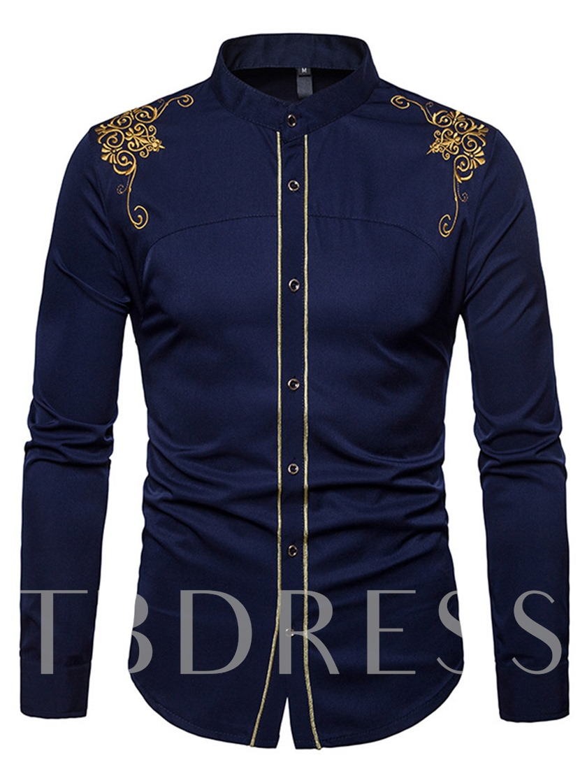 Embroidery Stand Collar Slim Men's Shirt