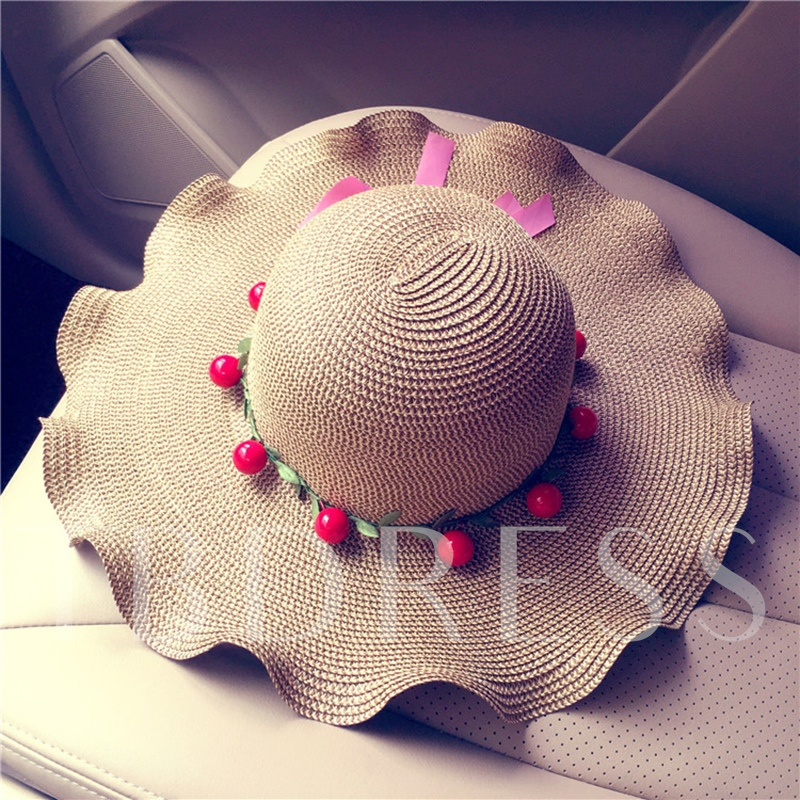 Cherry Shaped Wave Woven Hats